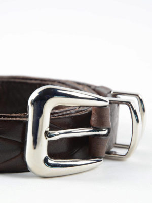 Brunello Cucinelli: belts online - Woven leather belt