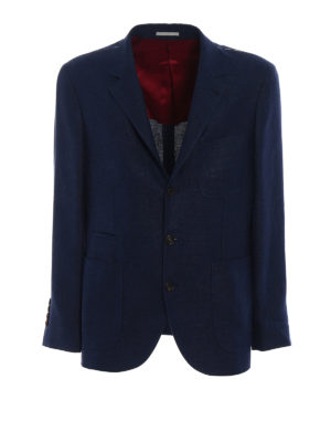 Brunello Cucinelli: blazers - Linen blend hopsack blazer
