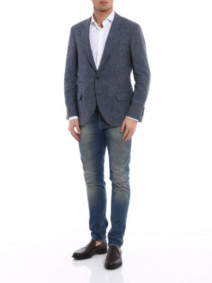 Brunello Cucinelli: blazers online - Striped linen unstructured blazer