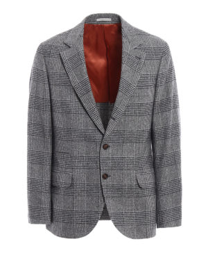 Brunello Cucinelli: blazers - Prince of Wales wool blend blazer