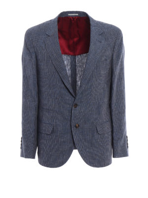 Brunello Cucinelli: blazers - Striped linen unstructured blazer