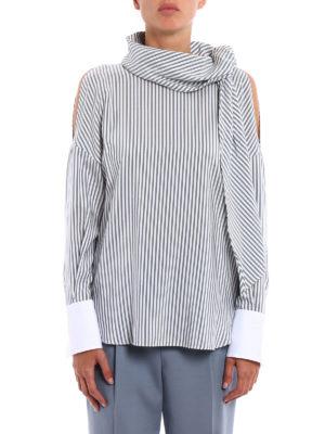Brunello Cucinelli: blouses online - Poplin cuff striped silk blouse