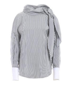 Brunello Cucinelli: blouses - Poplin cuff striped silk blouse