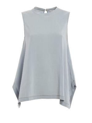 Brunello Cucinelli: blouses - Silk monili trims sleeveless blouse