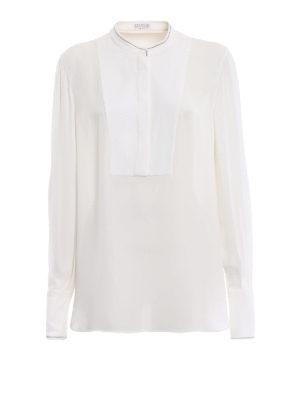 BRUNELLO CUCINELLI: bluse - Blusa lunga in seta con profili punto luce