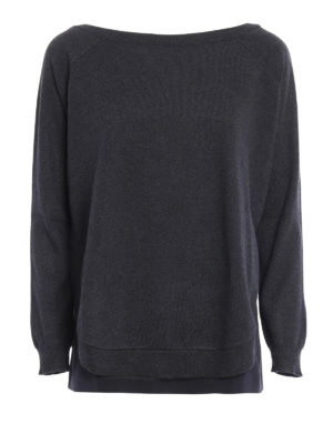 Brunello Cucinelli: boat necks - Cashmere sweater with silk top