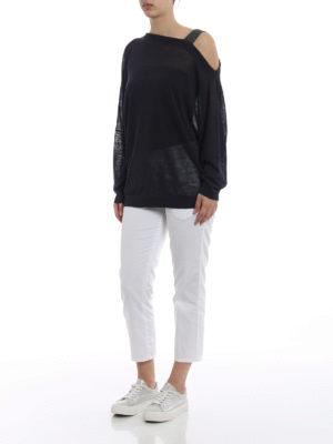 Brunello Cucinelli: boat necks online - Embellished strap linen sweater
