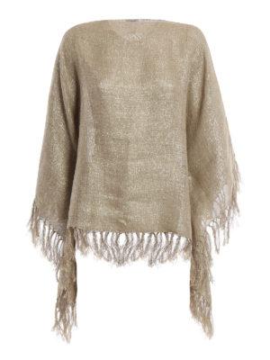 Brunello Cucinelli: Capes &  Ponchos - Metallic linen blend poncho