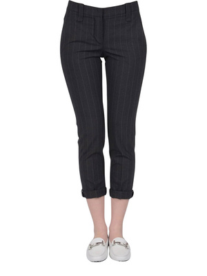Brunello Cucinelli: capris online - Pinstripe trousers with turn-ups