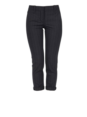 Brunello Cucinelli: capris - Pinstripe trousers with turn-ups