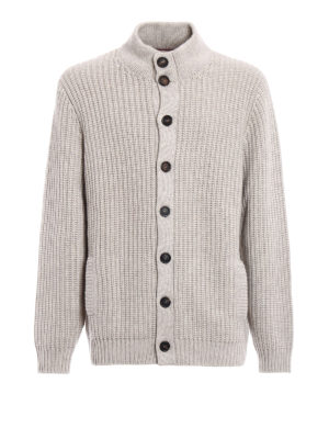 Brunello Cucinelli: cardigans - Braided cashmere buttoned cardigan