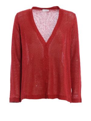 Brunello Cucinelli: cardigans - Embellished linen and silk cardigan
