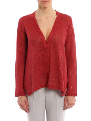 Brunello Cucinelli: cardigans online - Embellished linen and silk cardigan