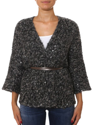 Brunello Cucinelli: cardigans online - Mohair blend belted  cardigan