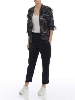 Brunello Cucinelli: cardigans online - Sequined cardigan with feathers