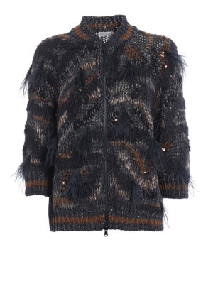 Brunello Cucinelli: cardigans - Sequined cardigan with feathers