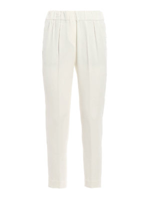 Brunello Cucinelli: casual trousers - Crepe silk blend pull-on trousers