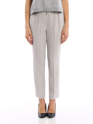 Brunello Cucinelli: casual trousers online - Crepe silk blend pull-on trousers