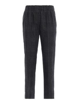 BRUNELLO CUCINELLI: pantaloni casual - Pantaloni crop pull on in Principe di Galles