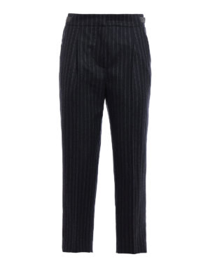 Brunello Cucinelli: casual trousers - Striped wool monili trousers