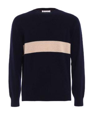 Brunello Cucinelli: crew necks - Contrasting stripe cashmere sweater