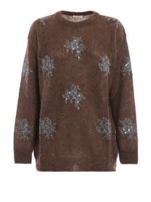 BRUNELLO CUCINELLI: maglia collo rotondo - Pull marrone in misto mohair con decori