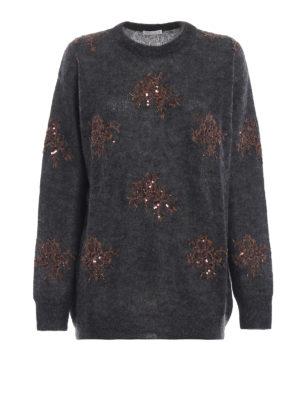 BRUNELLO CUCINELLI: maglia collo rotondo - Pull antracite in misto mohair con decori