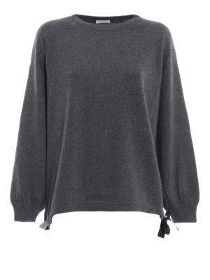 BRUNELLO CUCINELLI: maglia collo rotondo - Pull grigio in cashmere con coulisse