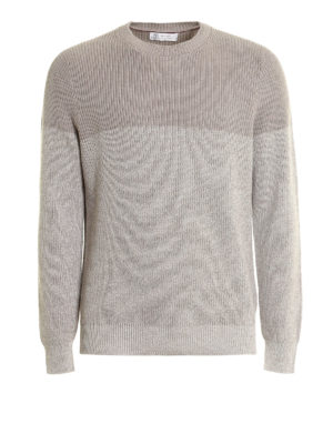 Brunello Cucinelli: crew necks - Knitted cotton bi-colour crewneck