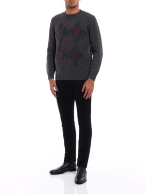 Brunello Cucinelli: crew necks online - Argyle cashmere blend sweater