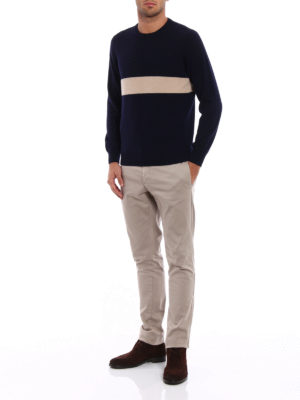 Brunello Cucinelli: crew necks online - Contrasting stripe cashmere sweater