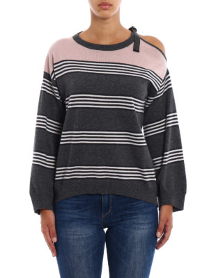Brunello Cucinelli: crew necks online - Stripes & Color cashmere sweater
