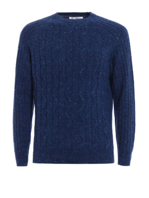 Brunello Cucinelli: crew necks - Twist and rib knitted wool sweater