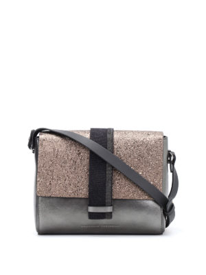 Brunello Cucinelli: cross body bags - City two-tone leather crossbody