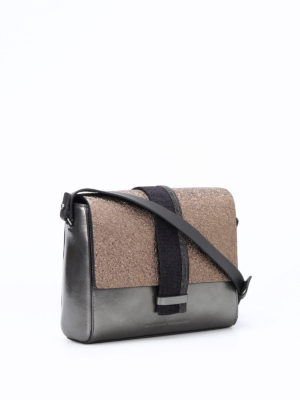 Brunello Cucinelli: cross body bags online - City two-tone leather crossbody