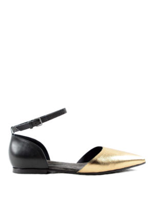 Brunello Cucinelli: flat shoes - Cut-out laminated flats