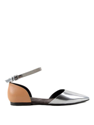 Brunello Cucinelli: flat shoes - Embellished strap leather flats