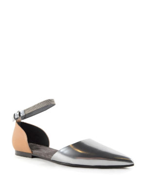 Brunello Cucinelli: flat shoes online - Embellished strap leather flats