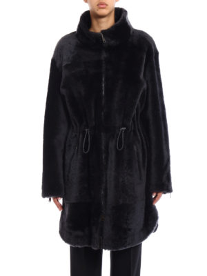 Brunello Cucinelli: Fur & Shearling Coats online - Shiny reversible shearling coat