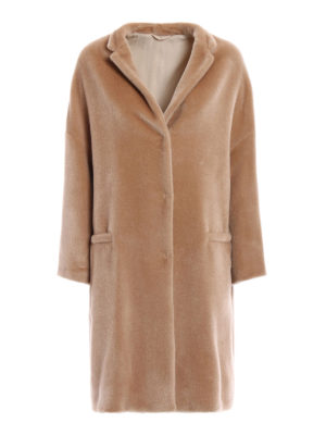 Brunello Cucinelli: knee length coats - Fluffy alpaca embellished coat
