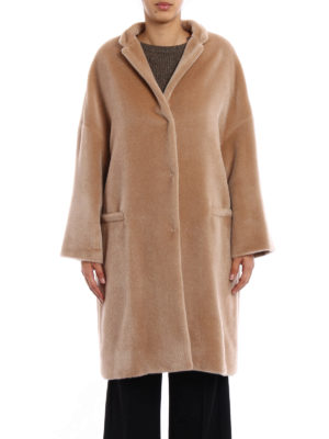 Brunello Cucinelli: knee length coats online - Fluffy alpaca embellished coat