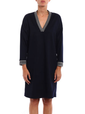 Brunello Cucinelli: knee length dresses online - Metallic trim jersey dress