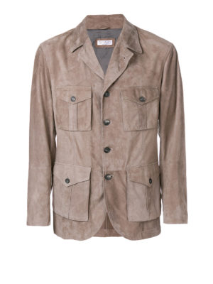 Brunello Cucinelli: leather jacket - Beige suede safari jacket