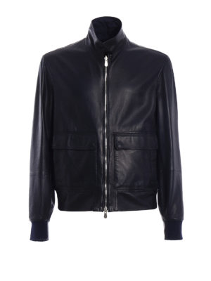 Brunello Cucinelli: leather jacket - Leather and silk reversible jacket