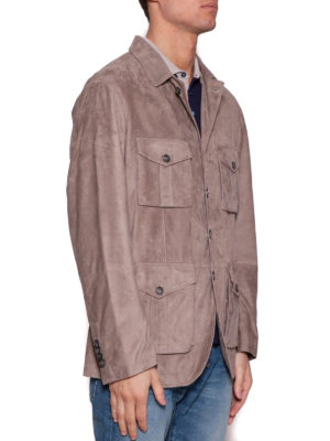 Brunello Cucinelli: leather jacket online - Beige suede safari jacket