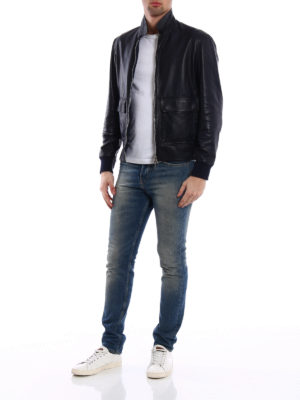 Brunello Cucinelli: leather jacket online - Leather and silk reversible jacket