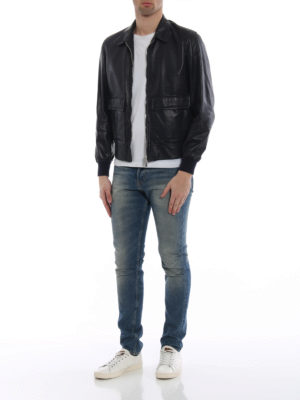 Brunello Cucinelli: leather jacket online - Soft leather casual jacket