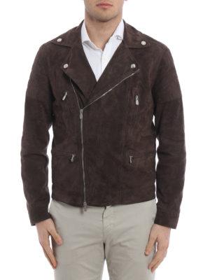 Brunello Cucinelli: leather jacket online - Suede biker jacket