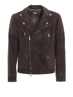 Brunello Cucinelli: leather jacket - Suede biker jacket