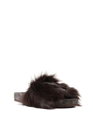 Brunello Cucinelli: Loafers & Slippers online - Shearling Folk embellished slides